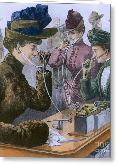 Society Ladies Using Earphones To Greeting Card