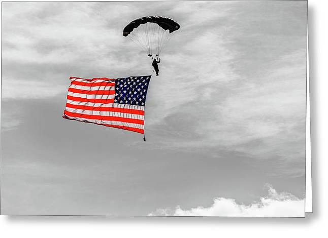 Socom Flag Jump In Selective Color Greeting Card