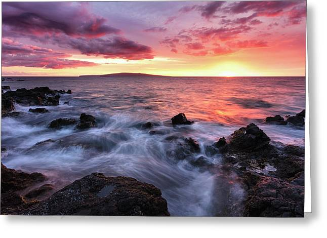 Soft Water Over Lava Rocks With A Red Greeting Card