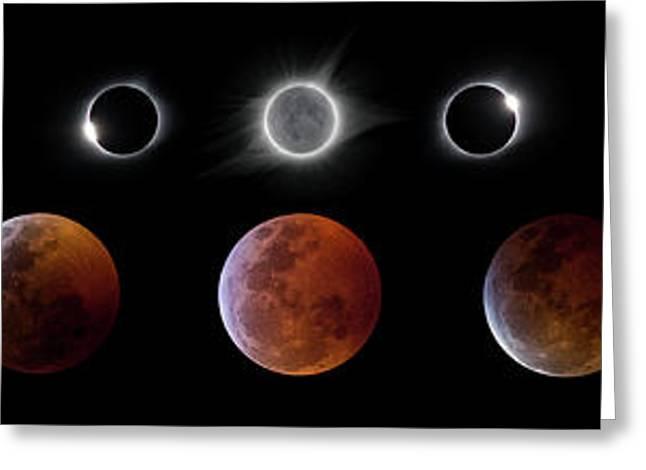 Solar And Lunar Eclipse Progression Greeting Card by Dennis Sprinkle