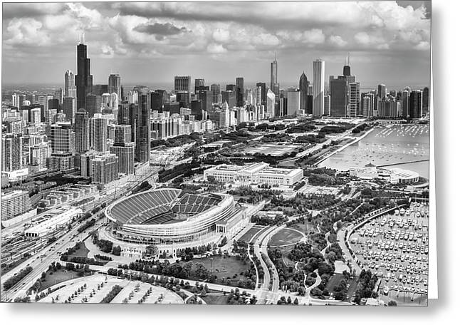 Soldier Field And Chicago Skyline Black And White Greeting Card