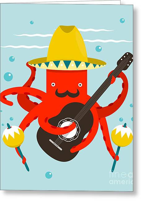 Sombrero Macho Moustache Octopus Greeting Card