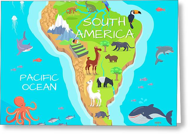 South America Mainland Cartoon Map With Greeting Card
