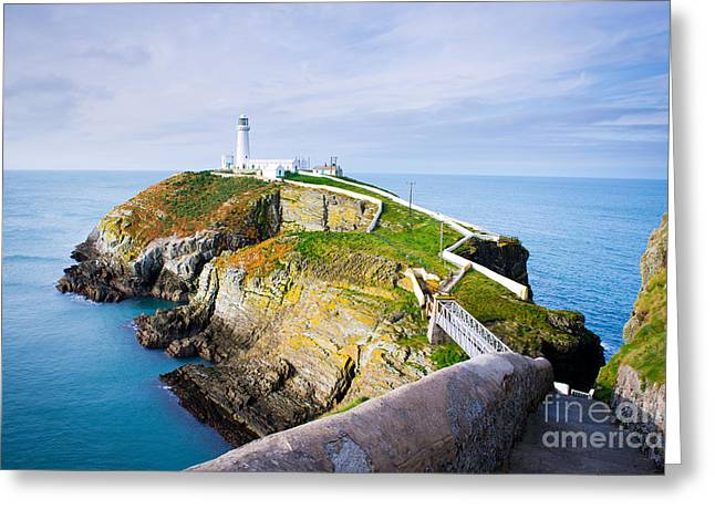 South Stack Lighthouse In Anglesey Greeting Card