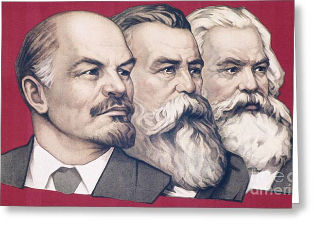 Soviet Propaganda Banner With Likenesses Of Lenin, Engels, And Marx Greeting Card