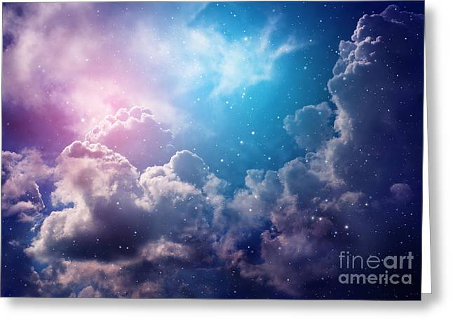 Space Of Night Sky With Cloud And Stars Greeting Card