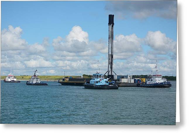 Greeting Card featuring the photograph Spacex Booster On Barge-3 by Bradford Martin