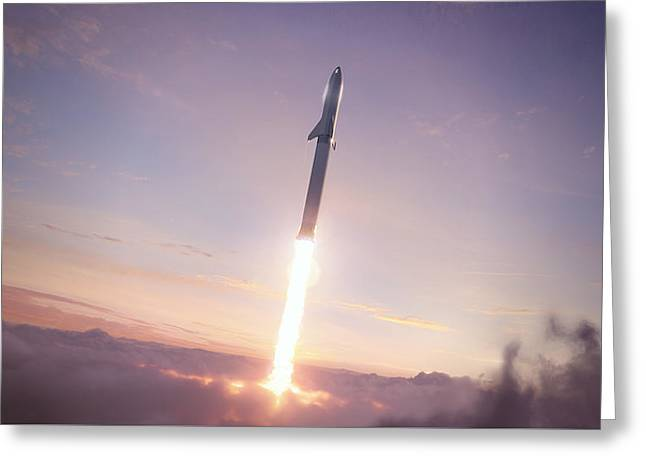 Spacex Bfr Through The Clouds Greeting Card