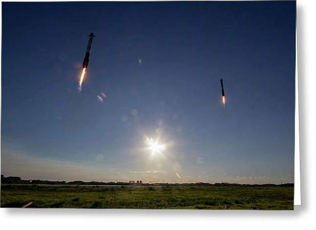 Spacex Double Booster Landing Greeting Card