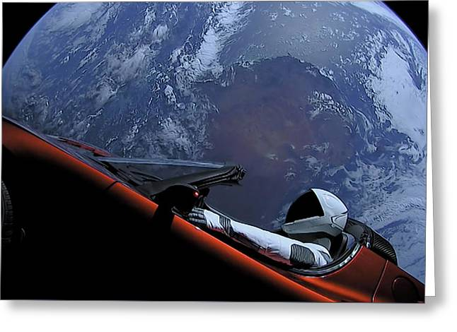 Spacex Driving Around Earth Greeting Card