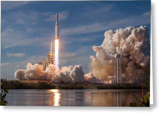 Spacex Falcon Heavy Demo Launch Lift Off Greeting Card