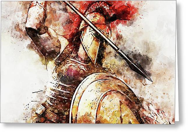 Spartan Hoplite - 54 Greeting Card