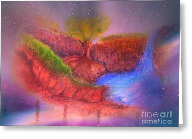 Greeting Card featuring the mixed media Spec In The Galaxy by Sabine ShintaraRose