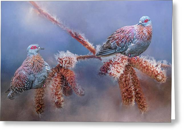 Speckled Pigeons Greeting Card
