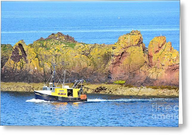 Spitfire Trawler Dunbar Greeting Card by Yvonne Johnstone