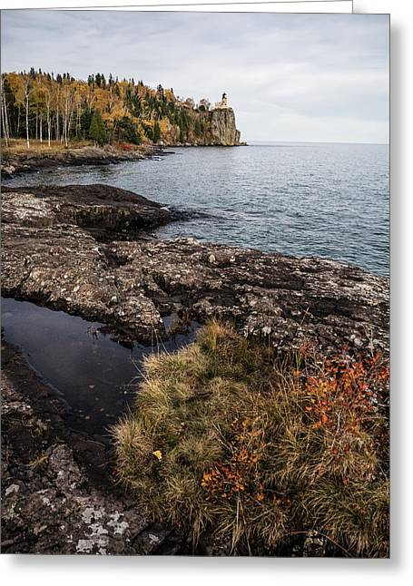 Greeting Card featuring the photograph Split Rock Lighthouse Rocky Shore by Whitney Leigh Carlson