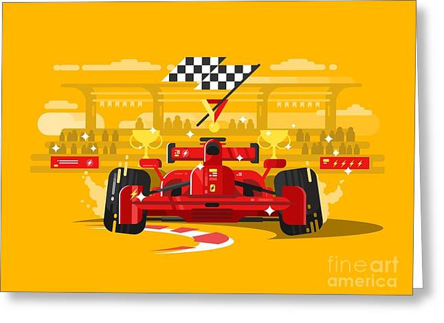 Sport Car In Race Greeting Card