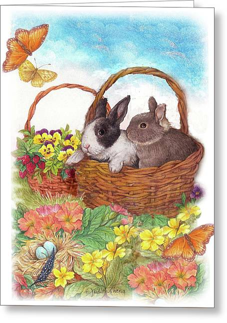 Spring Garden With Bunnies, Butterfly Greeting Card