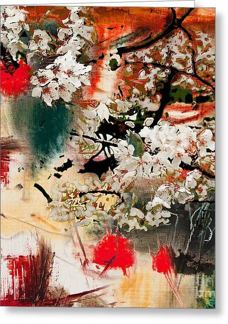 Spring Motif, Abstract Background Oil Greeting Card