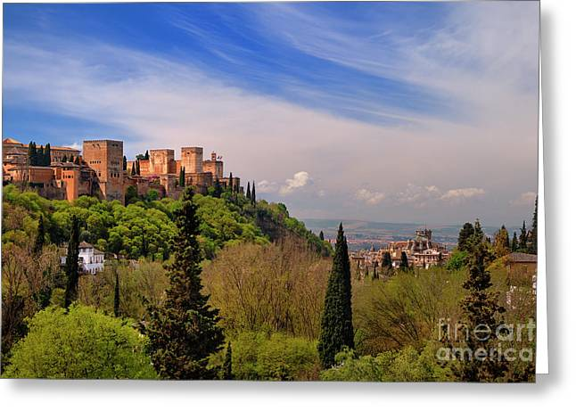 Spring Time. Alhambra Palace And Cathedral. Spain Greeting Card