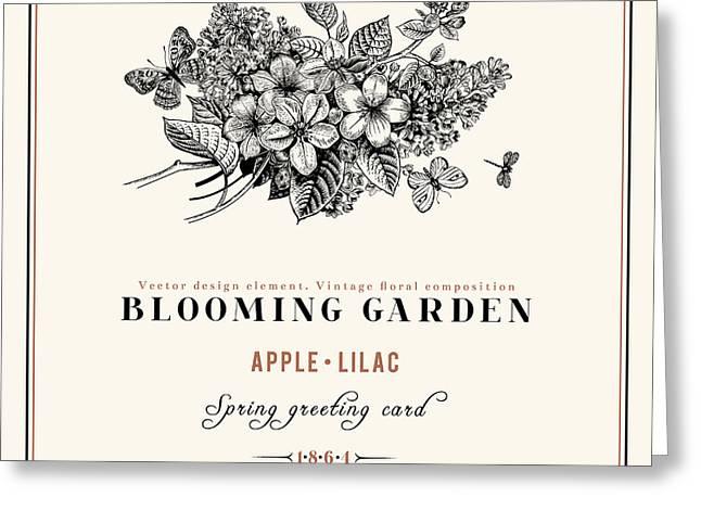 Spring Vector Vintage Floral Background Greeting Card