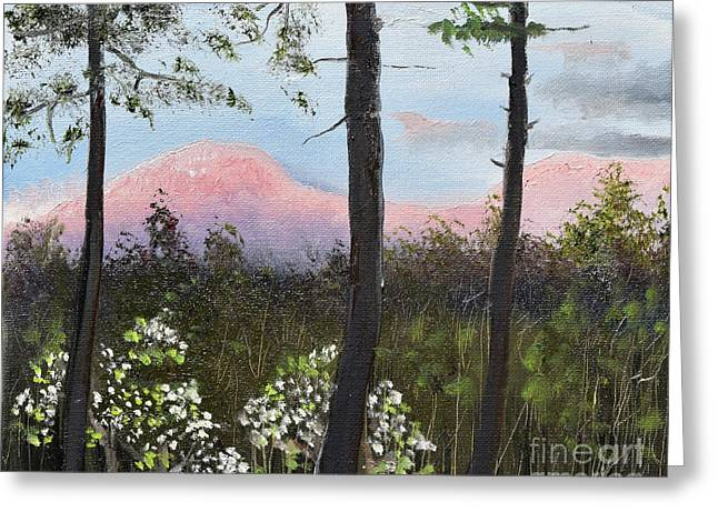 Greeting Card featuring the painting Springtime At Pink Knob In Ellijay by Jan Dappen