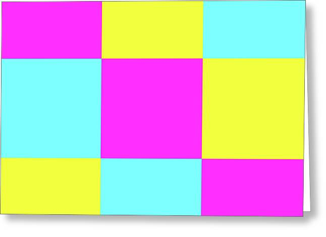 Greeting Card featuring the photograph Squares Of Cyan And Yellow And Magenta by Bill Swartwout Fine Art Photography