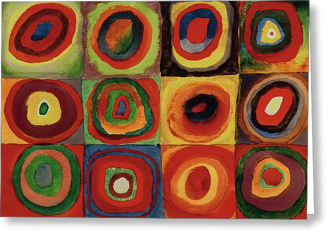 Squares With Concentric Circles 1913  Greeting Card