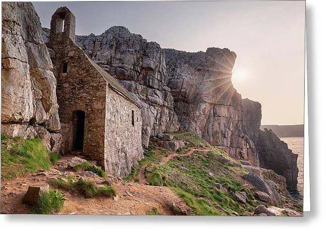 Greeting Card featuring the photograph St. Govan's Chapel Sunrise by Elliott Coleman