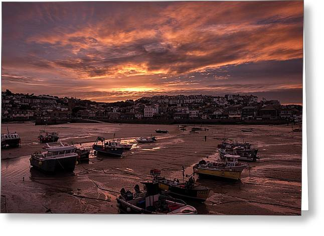 St Ives Cornwall - Harbour Sunset Greeting Card