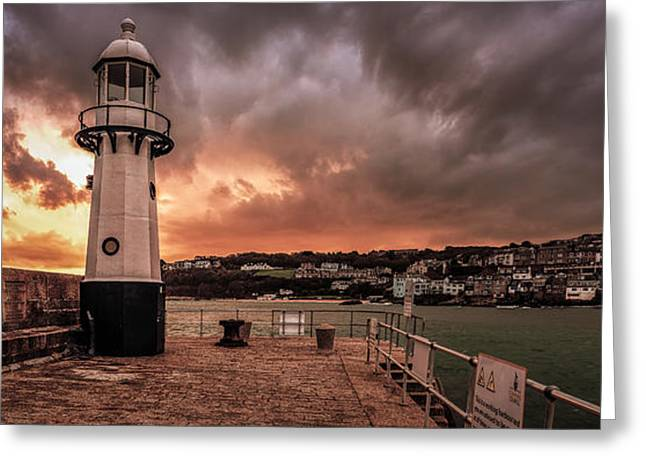 St Ives Cornwall - Lighthouse Sunset Greeting Card