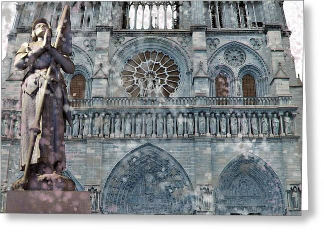 St Joan Of Arc Watch Over Notre Dame Greeting Card