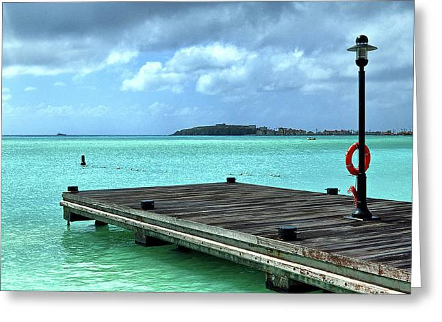 Greeting Card featuring the photograph St. Maarten Pier In Aqua Caribbean Waters by Bill Swartwout Fine Art Photography
