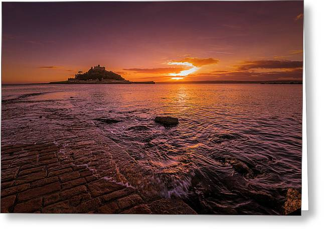 St Michael's Mount - January Sunset Greeting Card