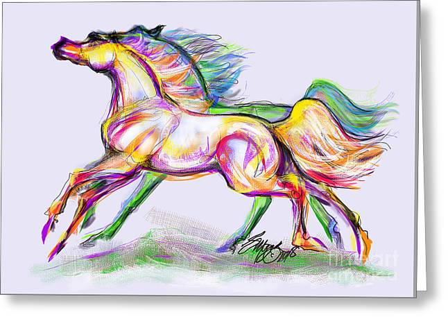 Crayon Bright Horses Greeting Card