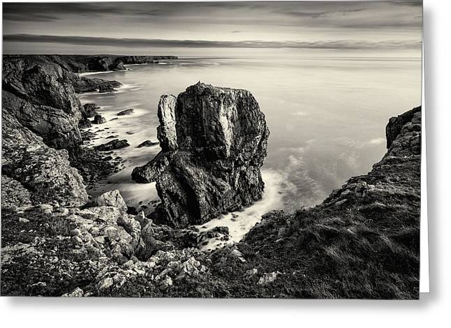 Stack Rocks - Black And White Greeting Card