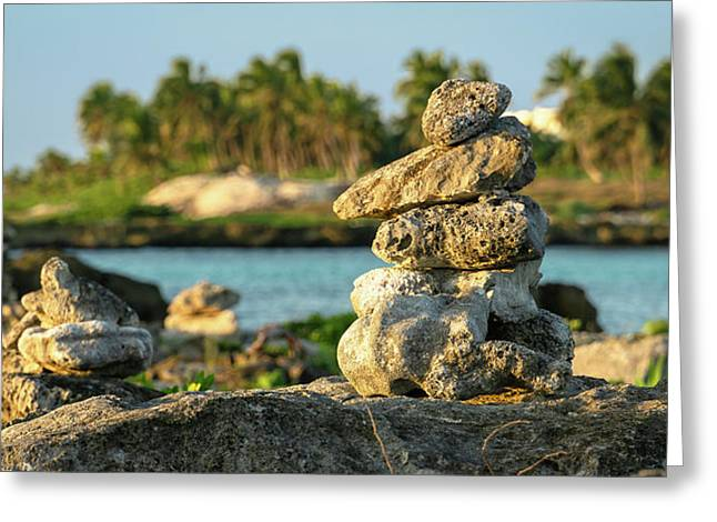 Stacked Rocks On Mexico Beach Greeting Card