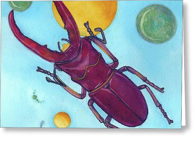 Stag Beetle In Space Greeting Card