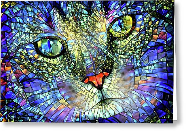 Stained Glass Cat Art Greeting Card