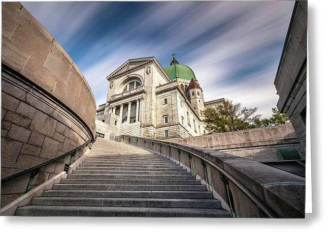 Greeting Card featuring the photograph Stairway To St Joseph Oratory by Pierre Leclerc Photography