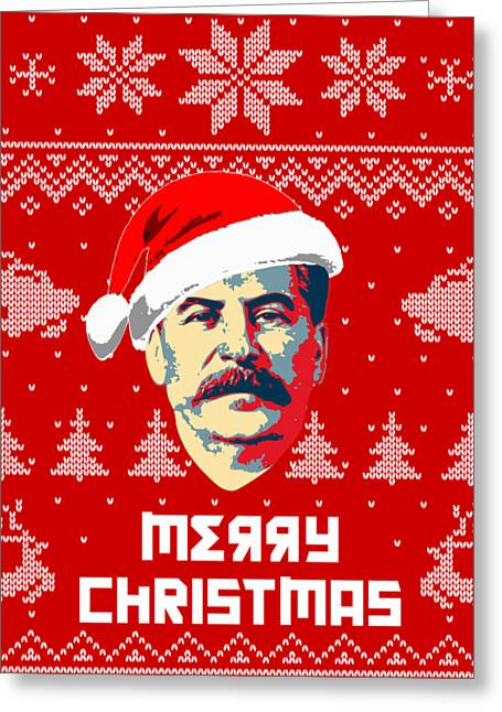 Stalin Merry Christmas Russian Letters Greeting Card