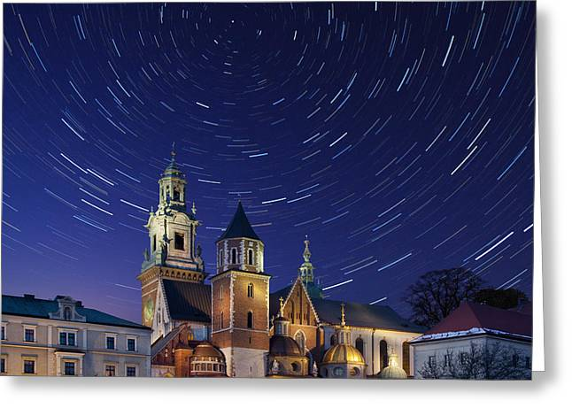 Star Trails Over The Royal Cathedral On Greeting Card