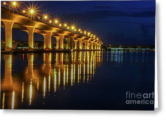 Starburst Bridge Reflection Greeting Card