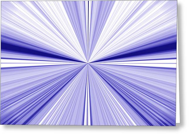 Starburst Light Beams In Blue And White Abstract Design - Plb455 Greeting Card