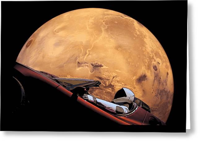Starman In Orbit Around Mars Greeting Card