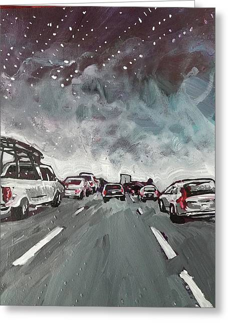Starry Night Traffic Greeting Card