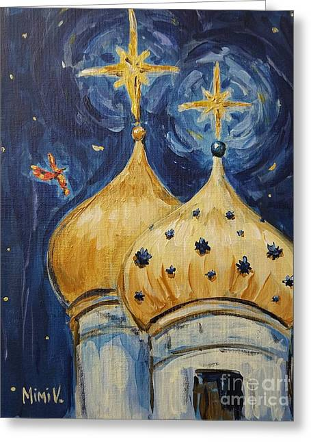 Greeting Card featuring the painting Stars Near And Far by Maria Langgle