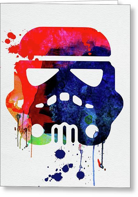 Starship Trooper Watercolor Cartoon Greeting Card