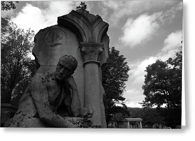 Greeting Card featuring the photograph Statue, Pondering by Edward Lee