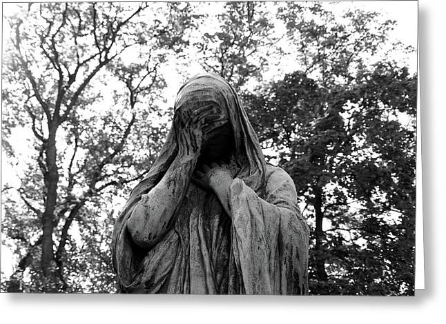 Greeting Card featuring the photograph Statue, Regret by Edward Lee
